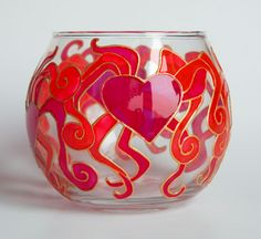 Hand painted glass candle holder - Dancing Hearts