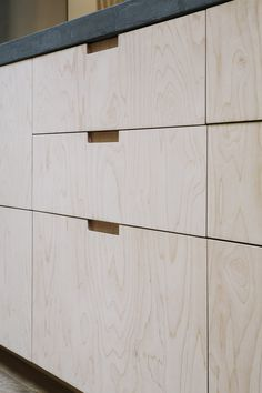 Plywood Kitchen in London by Custom Fronts. Built on Ikea cabinets. Cupboard Door Design, Diy Cabinet Doors, Kitchen Cupboard Doors, Kitchen Cabinet Handles, Plywood Cabinets Kitchen, Ikea Cabinets, Ikea Kitchen, Kitchen Interior, Plywood Storage