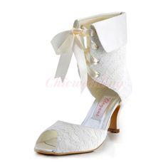 d98228e26ab018 Womens Mid Heel Satin Lace-up Ribbon Bridal Wedding Shoes Peeptoe Lace Boots  NEW