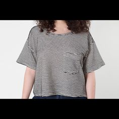 Crop top Over sized striped cropped top with chest pocket. American Apparel Tops Crop Tops
