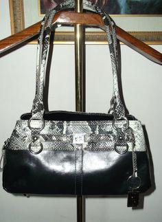 Giani Bernini Black Leather with Gray Embossed Snake Trim Satchel Bag