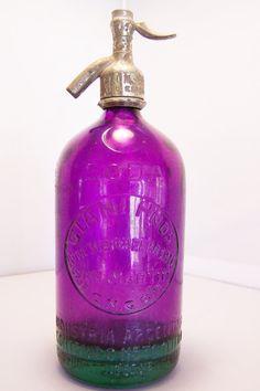 Rare Deep Purple Green Glass Seltzer Bottle by GretelsTreasures