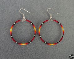 "Red Sunburst Beaded Silver Hoop Earrings ~ Native American Made 1.5"" ~ Free Ship 