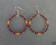 "Red Sunburst Beaded Silver Hoop Earrings ~ Native American Made 1.5"" ~ Free Ship | eBay"