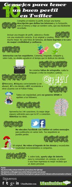 10 consejos para un buen perfil en Twitter #infografia #infographic #socialmedia