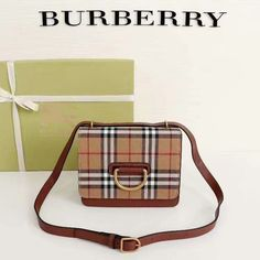 Burberry Small Vintage Check and Leather D-ring Bag In Brown Outlet Burberry Cheap Sale Store Burberry Outlet Online, Cheap Burberry, Louis Vuitton Damier, Shoulder Strap, Brown, Rings, Check, Leather, Vintage