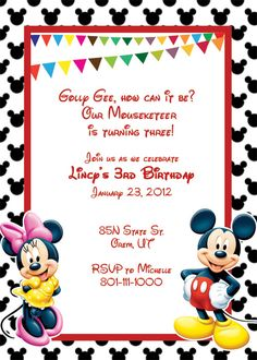Mickey Mouse Invitation Template Items Similar To Mickey Mouse Printable  Birthday Party Invitation .