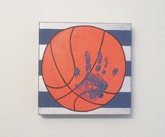 "Basketball Handprint or Footprint Canvas Art with Print Kit, 8x8"" by SnowFlowerArts"