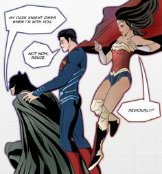 It doesn't help when you're right up in his space. He canfeel your dark knight too, Clark. Diana, pls help them. Superman X Batman, Superman Family, Teen Titans Love, Superhero Texts, Dc Trinity, Marvel Couples, Superbat, Avengers Comics, Dc Memes
