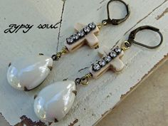 gypsy soul Earrings - Shabby Southern Gypsy Cowgirl white cross rhinestone Statement Jewelry - Vintage Inspired, mother of pearl earrings on Etsy, $21.00