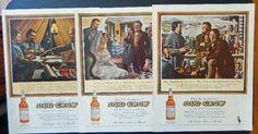 C  Jones  60 s Color Illustration  scarce print art   Old Crow Whiskey 3 ads