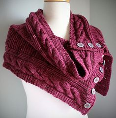 An easy textured wrap/cowl with button closure featuring garter & seed stitch and simple cable borders. This pattern is easily adaptable to larger sizes by extending the panel to the desired size, just allow extra yarn. Made in worsted weight yarn for a quick knit!