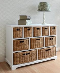 Buy the Tetbury Wide Storage Chest of Drawers with Wicker Baskets at Furniture UK online. Chest of drawers at best prices, from a trusted retailer! Wicker Basket Storage Unit, Storage Cabinet With Baskets, Large Storage Units, Drawer Storage Unit, Basket Shelves, Cube Storage, Storage Cabinets, Wicker Baskets, Storage Chest