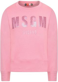 MSGM Girls Pink Sequin Branded Sweater