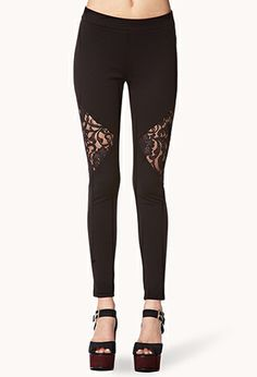 Lace Panel Leggings | FOREVER 21 - 2002246454