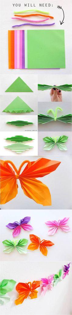 DIY Easy Folded Paper Butterflies
