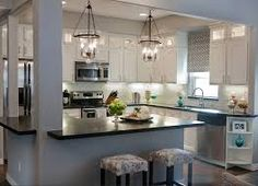 kitchen: Amazing White Small Kitchen Design Ideas With Great Black Countertop Decor Also Fashionable Chandelier Ideas - Modern Kitchen Ceiling Lights Ideas, Liiso: Home Design and Decorating Ideas Kitchen Redo, Kitchen Layout, Kitchen Living, New Kitchen, Kitchen Makeovers, Kitchen Small, Kitchen Black, 1970s Kitchen, Small Kitchens