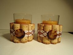 Up cycled Wine Cork Votive Candle holders by TheGoodWineArtist, $15.00