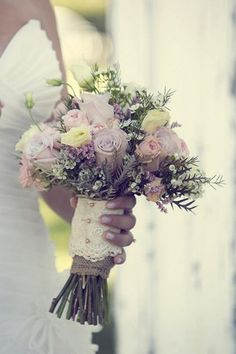 Country Chic Burlap & Lace DIY Wedding | Confetti Daydreams - Country-chic bouquet with burlap and lace ♥  attn. Michelle