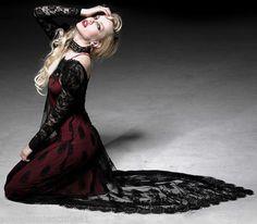 Punk-Rave-Kleid-2-Teilig-Abendkleid-Gothic-Lolita-Red-Black-Lace-Dress-Rot-Q223