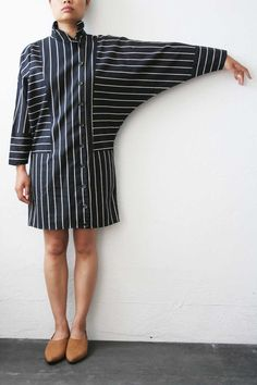 Black / White Striped Dress with Top to Bottom Buttons