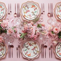 Pink table with butterflies