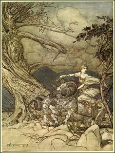 Arthur Rackham ~ Siegfried & The Twilight of the Gods ~ First Day of the Trilogy: The Valkyrie ~ 1910