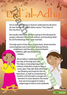 Eid al-Adha Poster – Information Teaching Resource Holidays Around The World, Love Holidays, Eid Crafts, Eid Party, Eid Al Fitr, Ramadan Decorations, Happy Eid, Religious Education, Grandparents Day