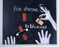 IPhone 5 case. iPhone felt case. iPhone 5s case with metal button closure. Dark felt iPhone sleeve. Leather IPhone case.