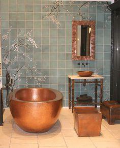 Wait, is that a copper bathtub? Gorgeous tile. . . . Love this !!!! Fir for a Queen