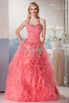 Wholesale Formal Dress - Buy Charming Ball Gown Prom Dresses Halter Beaded Ruched Floor Length Formal Dress Quinceanera Gowns, $129.37 | DHgate