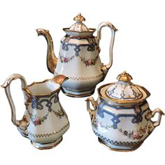 Old Paris Porcelain Coffee, Cream and Sugar