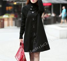Black Wool coat Wool Jacket Loose woolen by FashionStyleClothing