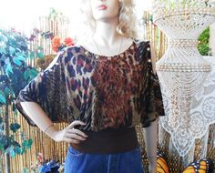 OOAK- Open Shoulders Batwing Leopard top Upcycled and Studded Sz  Small. $37.00, via Etsy.