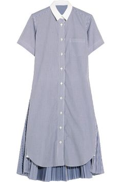 Blue and white cotton-poplin Button fastenings through front  100% cotton Dry clean  Made in Japan