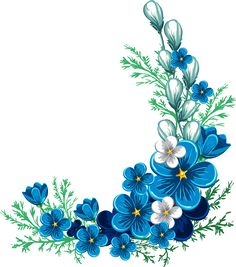 "Photo from album ""Наборы on Yandex. Floral Vintage, Vintage Flowers, Blue Flowers, Flower Pattern Drawing, Flower Patterns, Flower Frame, Flower Art, Flower Border Clipart, Flower Borders"