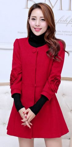 3/4 Sleeve Flower Embroidered Cashmere Coat YRB0395 #koreanstyle #redcoat #redfashion