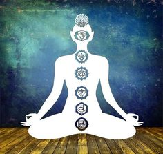 Wanddeko Wandaufkleber Yogi mit 7 Chakren von Lichterleben in vielen Farben und Größen  für deine Yogastudio oder deine Gesundheitspraxis #lichterleben