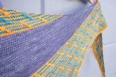 Happy Hour Shawl by Christopher Salas | malabrigo Rios in Sunset, Pearl Ten and Teal Feather