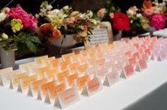 Ombre escort cards: http://www.stylemepretty.com/new-york-weddings/new-york-city/manhattan/chelsea-ny/2015/05/07/elegant-fall-new-york-city-wedding/   Photography: Craig Paulson - http://cpaulson.com/