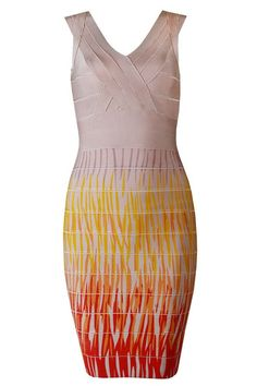 Herve Leger Sleeveless Crossed Front Ombre-print Bandage Dress