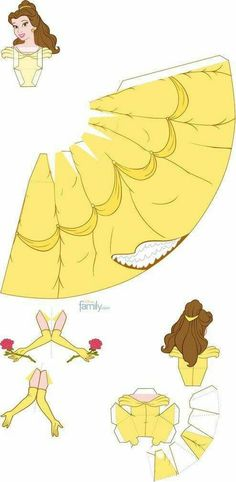 Discover thousands of images about Disney paper doll pattern Origami Paper, Diy Paper, Paper Art, Paper Crafts, Disney Diy, Disney Crafts, Disney Paper Dolls, Beauty And The Beast Party, Paper Models