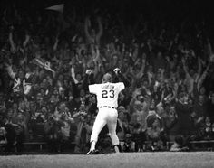 """October 14, 1984 This unusual perspective of Kirk Gibson""""s historic home run off the Padres, Goose Gossage in the deciding game of the 1984 World Series, shows how fans reacted moments after the ball took flight.  Gibson rounding the bases, pumping his fists and blowing kisses to the Tiger Stadium crowd."""