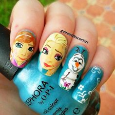 Stylish Board Will You Try These Frozen Movie Nail Arts? Frozen Nail Art, Frozen Nails, Mac Nails, Frozen Movie, Disney Nails, Frozen Birthday Party, Creative Nails, Nail Arts, How To Do Nails