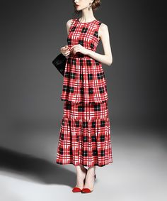 Take a look at this Red Plaid Tiered Maxi Dress today! Dress Skirt, Skirt Set, Scottish Plaid, Tartan Plaid, That Look, Casual, How To Wear, Iris, Maxi Dresses