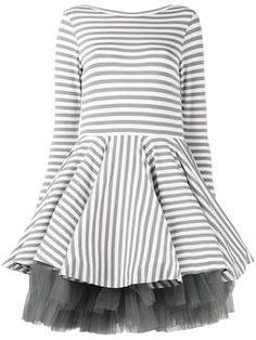 striped full skirt dress