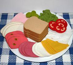 Wollfilz Spiel Essen - Deli Fleisch und Käse für Sandwiches Tee feiern oder Geschäftsessen
