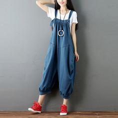 Для женщин Джинсовые Комбинезоны женские корейские плюс Размеры Повседневное свободные Крестовые штаны 2016 Дамы Большой Размеры деним Мотобрюки купить на AliExpress