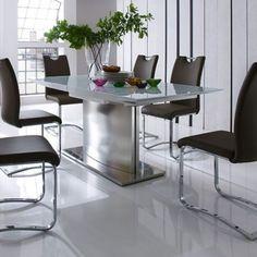 Deska stolu MDF + bílé sklo tl. 6 mm, hrany: lak bílý, vysoký lesk. Podnož a podstava: nerez broušený. Středová vložka: lak bílý, vysoký lesk. Rozkládací deska stolu se synchronní výklopnou vložkou 60 cm. Extendable Glass Dining Table, Glass Dining Table Set, Pedestal Dining Table, Oak Dining Table, Dining Room Furniture, Dining Chairs, Dining Sets, Contemporary Dining Table, Ikea