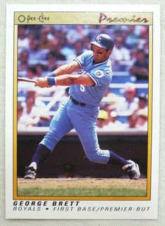 1991 O-Pee-Chee Premier Baseball 14 George Brett Kansas City Royals #KansasCityRoyals Kansas City Royals, Baseball Cards, Store, Ebay, Storage, Shop